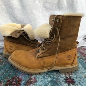Shearling Fold Down Timberland Boots